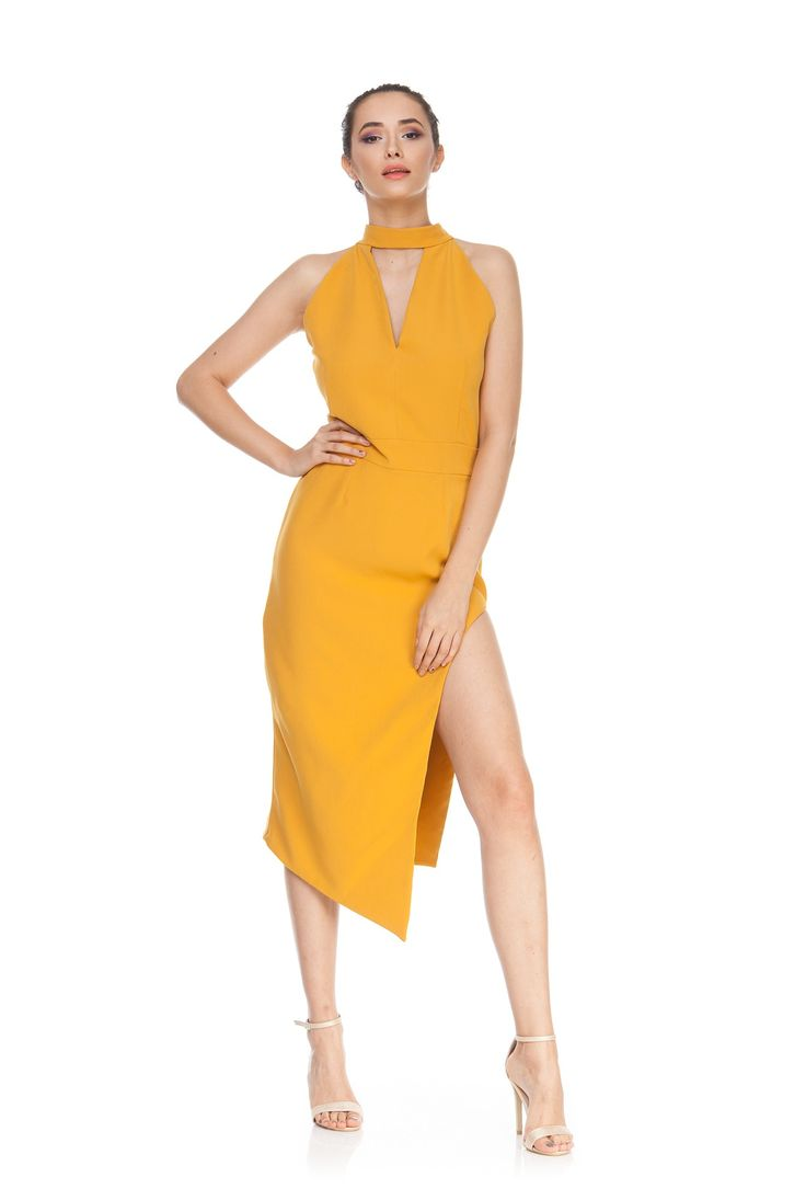 Rochie  asimetrica galbena ROSE de la Ama Fashion