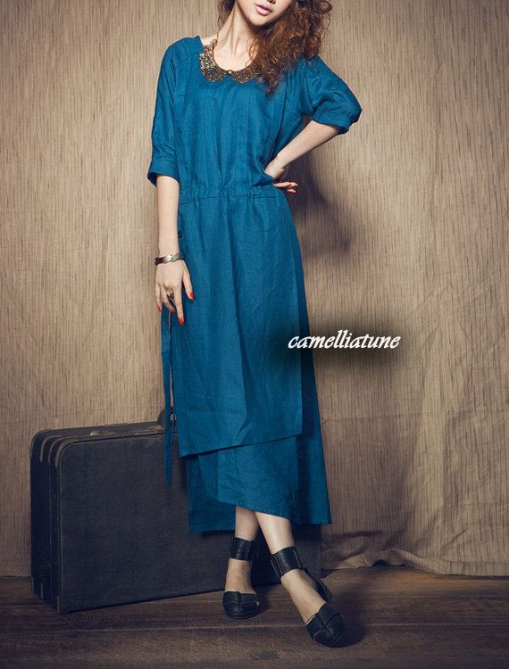 linen evening dress in blue / cocktail dress / long dress (Custom Made). $69.00, via Etsy.