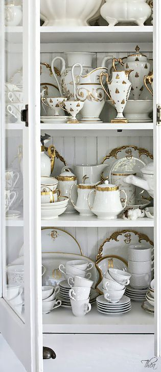 """My dear friend Suzie has a """"true walk-in china room with a big oval window"""" filled with many treasures just like this sweet """"tea cabinet/chest"""".  This makes me smile and want to have a cup of tea right now!"""