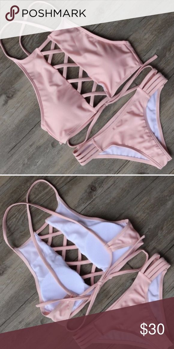 Lattice Bikini! Baby pink! Super sexy Selling due to it being too small. I thought it would fit me ( medium but fits as a small) **not VS just used for viability** Victoria's Secret Swim Bikinis