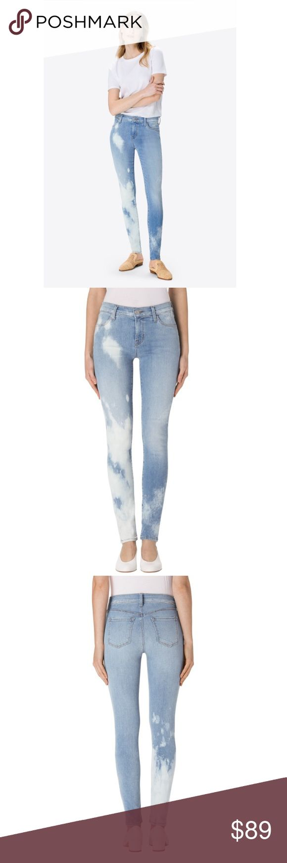 J brand super skinny mid 26 downpour jeans nwot Our mid-rise super skinny in light blue super skinny jean takes on major edge with white bleached detailing throughout the front and back. Complete with a silver shank button.  Style number 620I526  Skinny Mid-Rise 9.75-inch Leg Opening 30-inch Inseam 8.75-inch Rise 11-Ounce Cross Hatch Super Stretch 93% Cotton, 5% Polyester, 2% Lycra Designed in USA These are brand new without tags and have never been worn!! J Brand Jeans Skinny