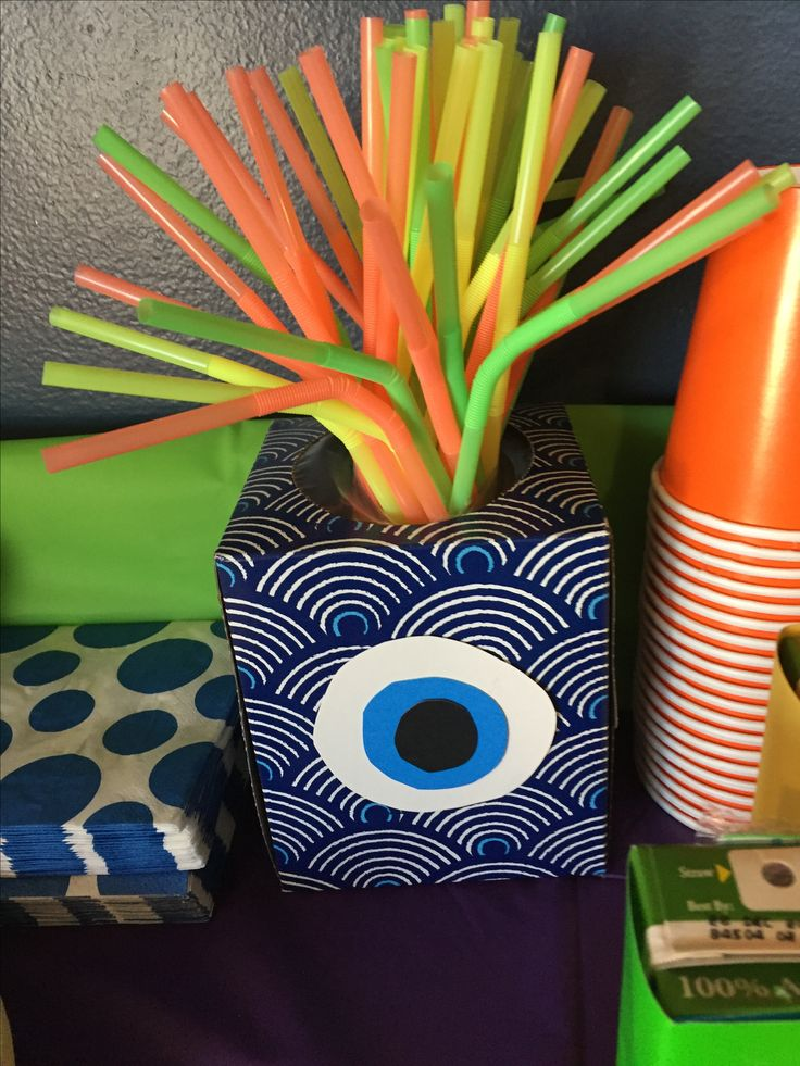 Monster Birthday party straws and tissue box
