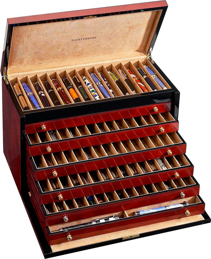 The triple BURLWOOD Collection from VENLO is a luxurious 60 unit pen case composed of maple, oak and ash wood timbers imported from France. The accessory box has a soft beige microfiber velour lined i