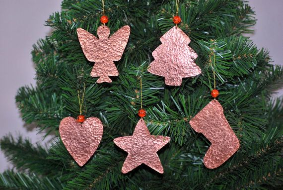 Christmas Decor 5 Rustic Christmas Copper Ornaments  by CarmelsArt