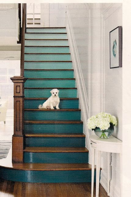 From Real Simple magazine. Choose consecutive colors on the same paint strip. They used five shades on three stairs apiece. oooh~!