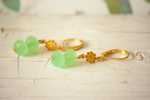 Christmas Jewelry Mint Green Faceted Glass Bead Golden Earrings with Little Golden Flower, Elegant Golden Earrings, Mint Earrings #etsymnt #gifts