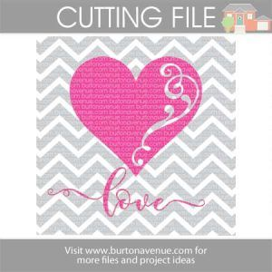 Download Love w/Heart Flourish and Chevron Background (With images ...