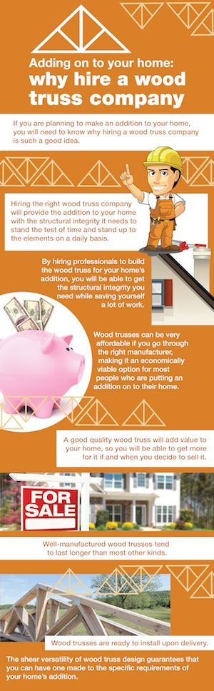 If you are adding on to your home, you want to make sure you hire a wood truss company in Oklahoma. This infographic talks about the reasons why hiring a wood truss company is in your best interest.