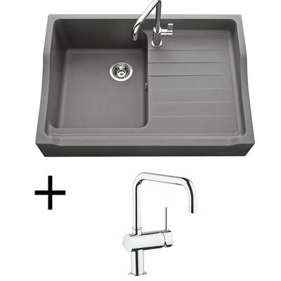 Lot Evier granit gris 1 bac TAMARIN + Mitigeur GROHE CRBMI174