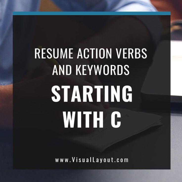 Job Seeker Resume Action Verbs and Keywords Starting