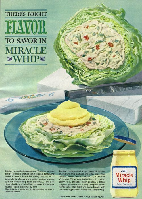 For fans of creatively off-the-wall vintage/retro foods everywhere.  I've never seen Miracle Whip so yellow..