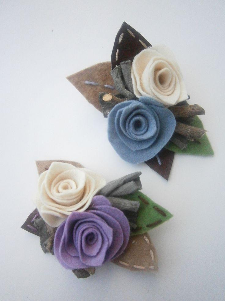 brooches-Light-blue-purple felt roses