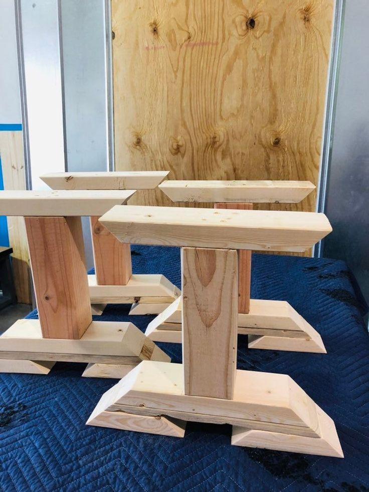 DIY Bench Leg Set, Trestle Style Wooden Bench Legs