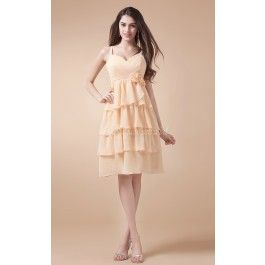 Princess Sweetheart Chiffon Knee-length Pearl Pink Bridesmaid Dresses(BD117.119)_Good colour and pretty style