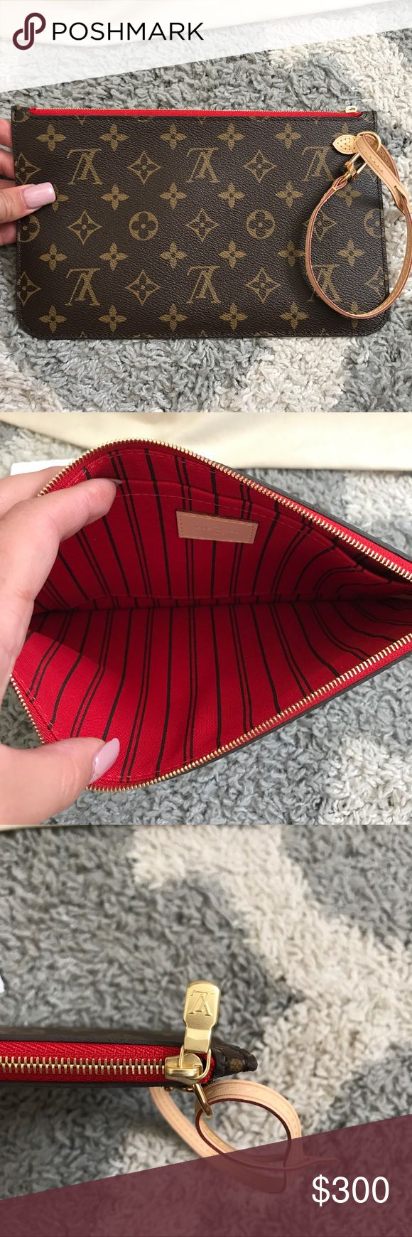 💯Auth BRAND NEW Red Neverfull MM Wristlet 💯 100% Authentic. Brand New Never Used. Comes with Wristlet only . NO TRADES OR OFFERS Louis Vuitton Bags Clutches & Wristlets