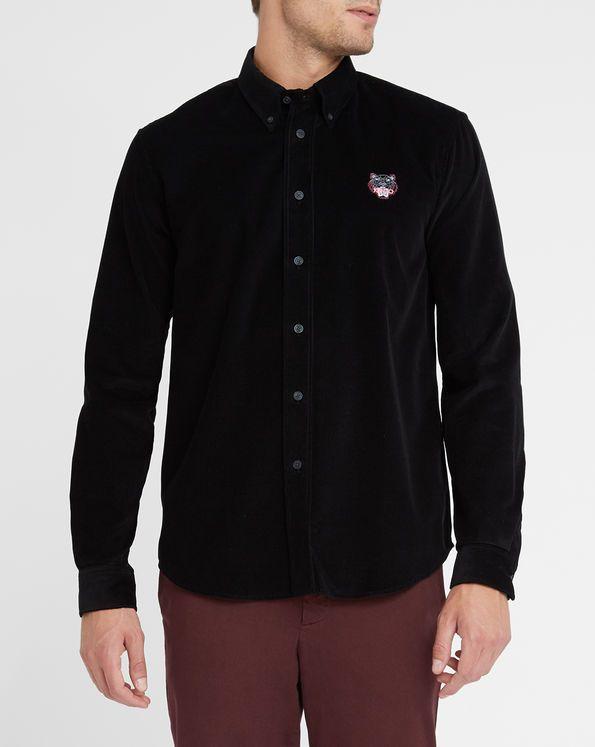 Chemise en Velours Noir Logo Tigre KENZO