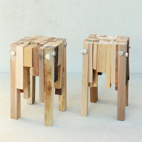 Sgabello moderno / in legno / in materiale di recupero BITS OF WOOD 2.0 Pepe Heykoop Products