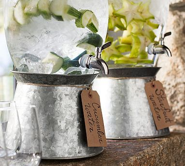 Galvanized Metal Drink Dispenser Stand #potterybarn