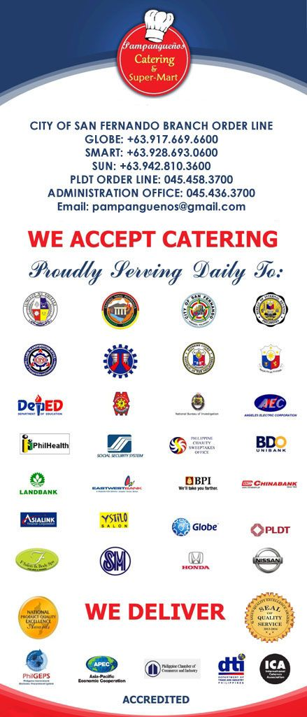 PROUDLY SERVING DAILY BREAKFAST, LUNCH, MERIENDA TO THESE AGENCIES,