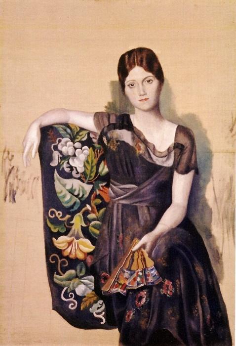Pablo Picasso, 1917-18, Portrait d'Olga dans un fauteuil (Olga in an Armchair), oil on vanvas, 130 x 88.8 cm, Musée Picasso, Paris, France