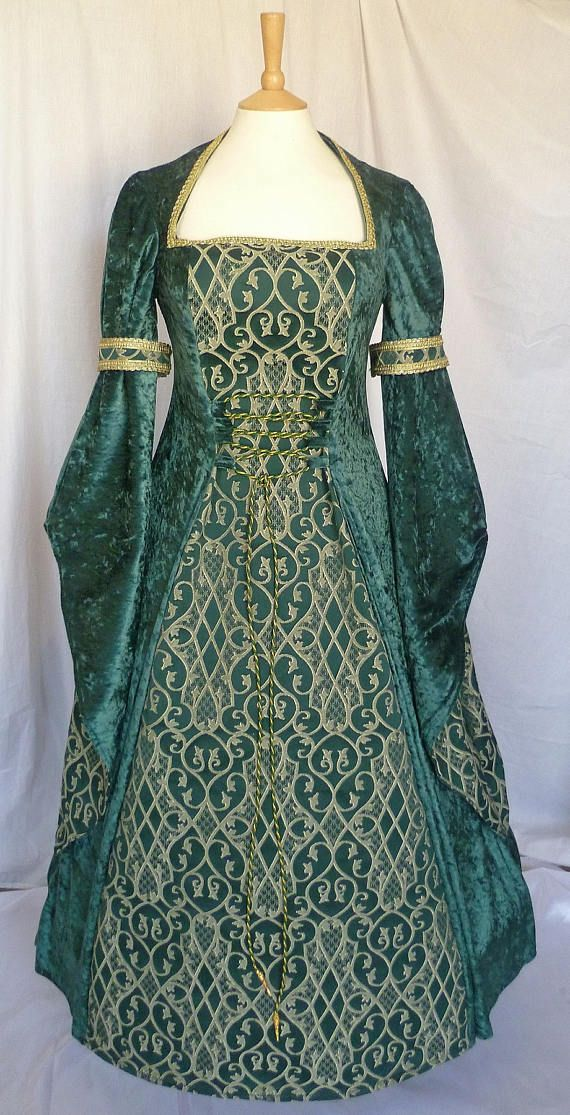 Renaissance Clothing dress forest green and pale gold wedding
