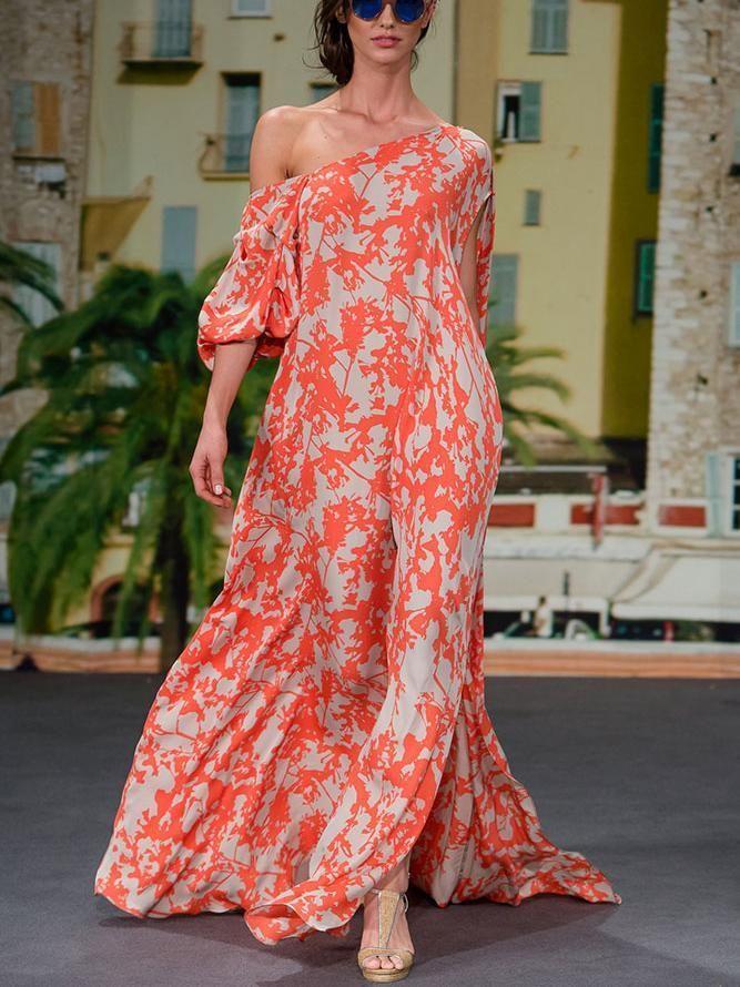 Sexy Fashion One Shoulder Floral Print Maxi Dress – #maxidress #maxidressesgor... 2