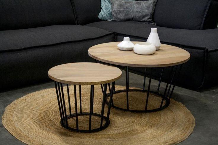 Salontafel FRAMER - 50x38 - zwart - staal/eiken - Spinder Design