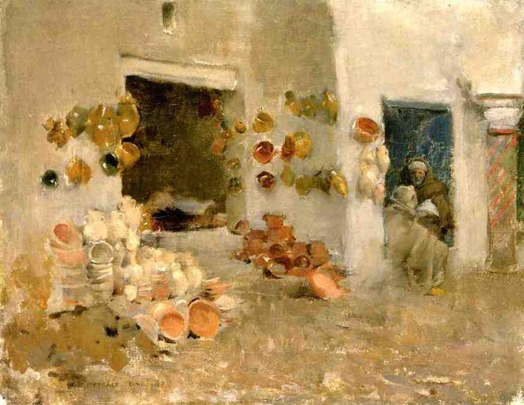 """Willard Leroy Metcalf (1858-1925), """"Pottery Shop at Tunis"""""""