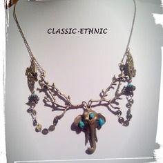 Collier ethnique bronze éléphant fleurs et branches turquoises véritables magnifiques