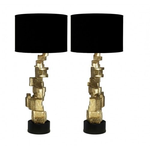 Pair of stunning Brutalist lamps in brass - loving the look of brutalist for the bedroom