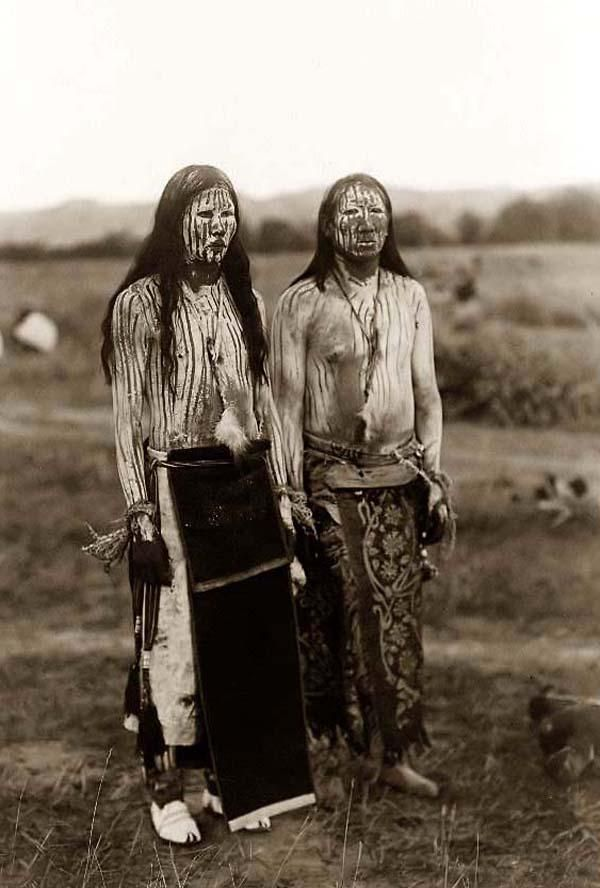 Sun Dance Pledgers. Two young Cheyenne men in ceremonial paint, 1910, photographed by Edward S. Curtis.