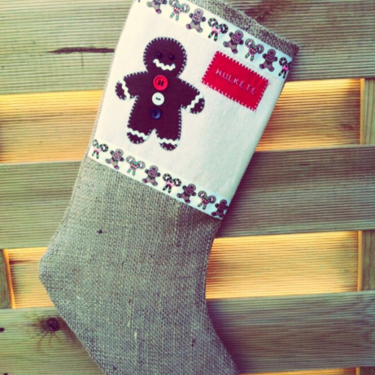 Fully lined hesian stocking with appliqué - The Supermums Craft Fair