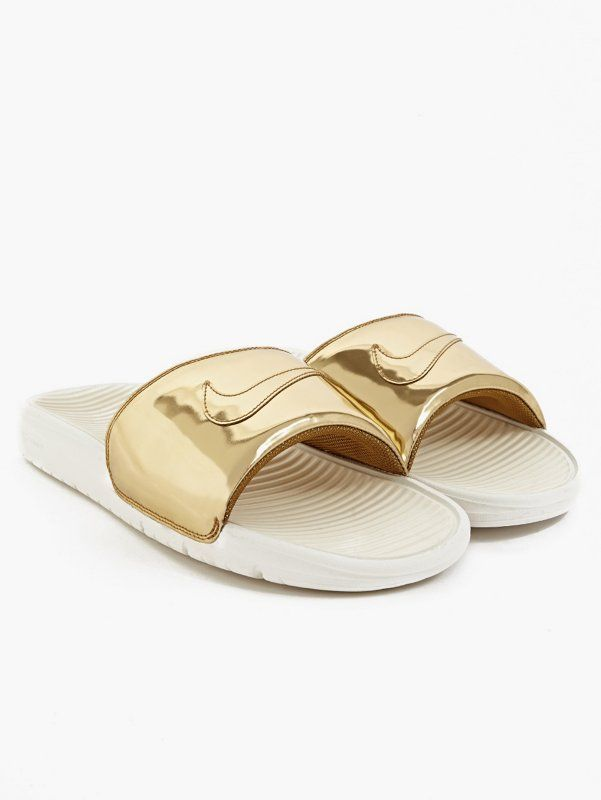 Nike Gold Liquid Metal Benassi Solarsoft Slides