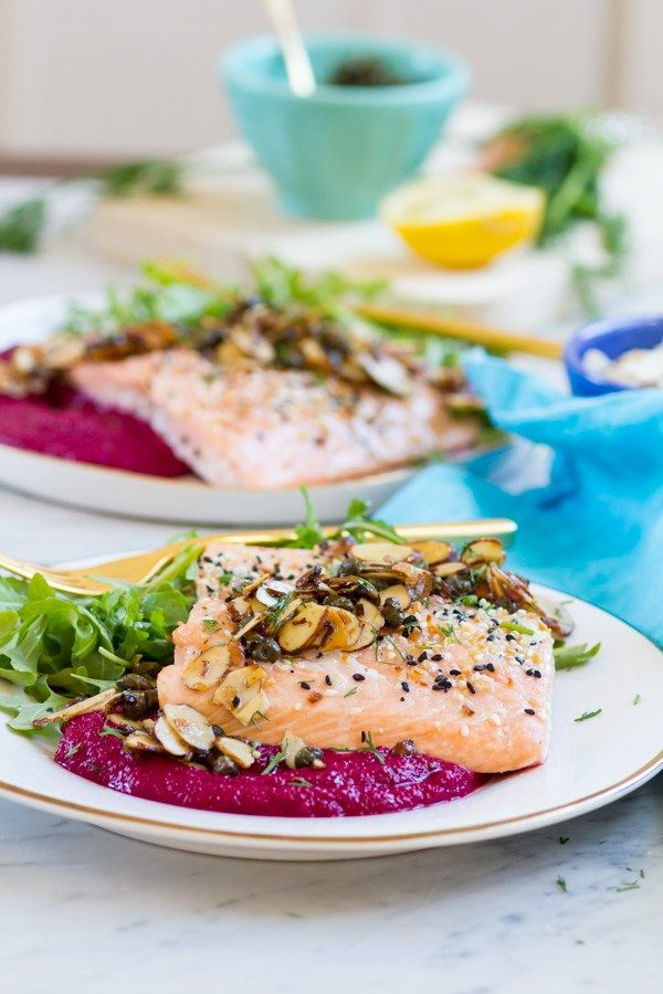 Lemon Caper Almond Salmon over Beet Puree