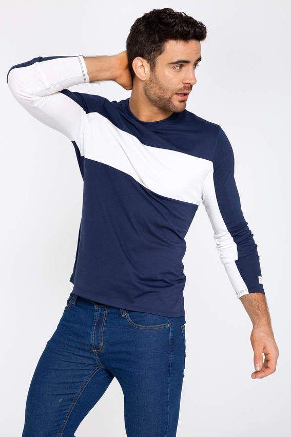 Camiseta Manga Larga Cuello Redondo Unico Mens Outfits Mens Shirts Mens Tops