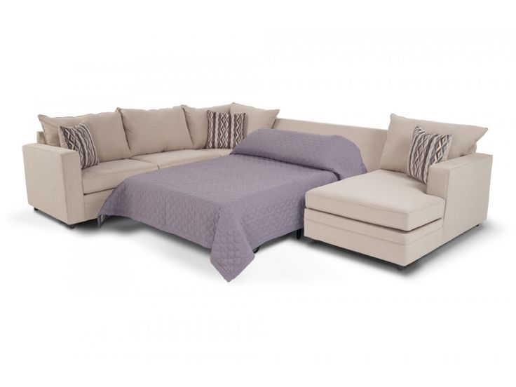 Neptune 4 piece left arm facing bob o pedic gel sleeper for Bobs furniture living room sectionals