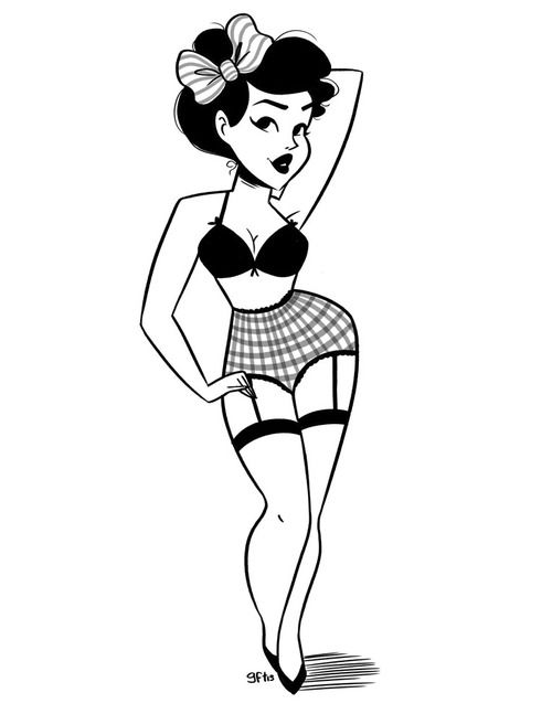 drawing Illustration art Black and White artist pin up illustrator pin up girl artist on tumblr pin up art Line art genevieve ft pin up illustration