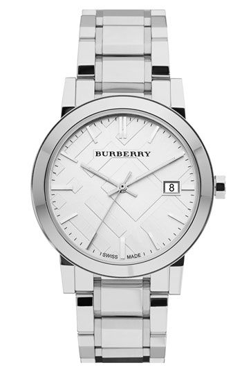Free shipping and returns on Burberry Large Check Stamped Bracelet Watch, 38mm at Nordstrom.com. A multi-link bracelet breathes new life into a signature watch boasting a hydraulic-stamped check pattern on the round face.