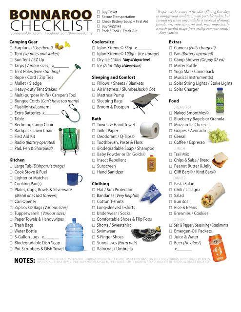 2013 Bonnaroo Checklist - The Ultimate Survival Tip