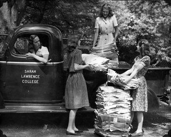 Students collecting recylced newspapers to support the war effort during World War II. Photographer unknown. Copyright Sarah Lawrence College Archives.
