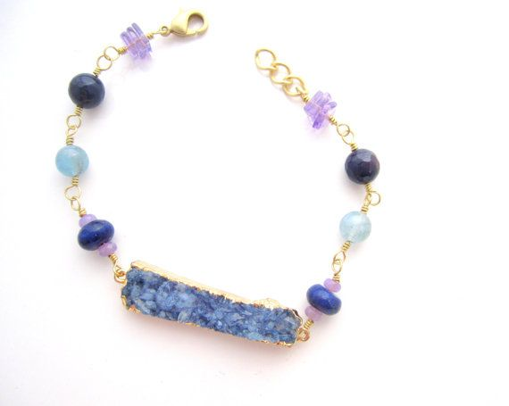 Druzy Gemstone Bracelet Cool Colors Blue and by ColorGardenJewelry