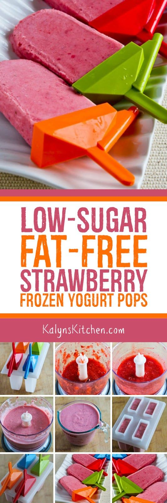 I had fun making these Low-Sugar Fat-Free Strawberry Frozen Yogurt Pops with some of my favorite kids; use full-fat yogurt and your favorite sweetener if you prefer. [found on Kalyn's Kitchen.com]