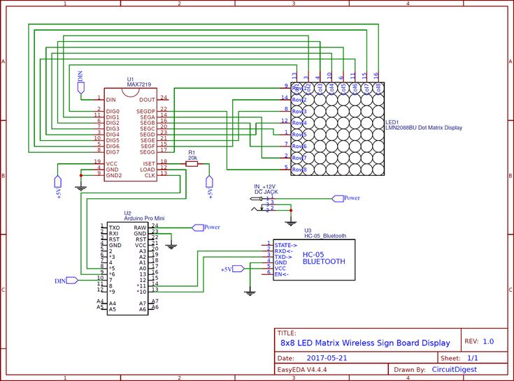 Circuit diagram for Bluetooth Controlled 8x8 LED Wireless ...