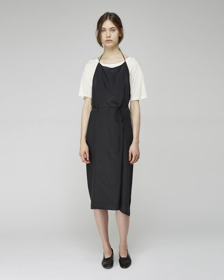 BASE RANGE | Silk Charmeuse Apron Dress | Shop at La Garçonne