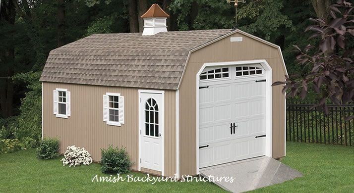 Amish Built Attic Car Garage With Loft Space: The Dutch Garage Is Great For Additional Storage Space