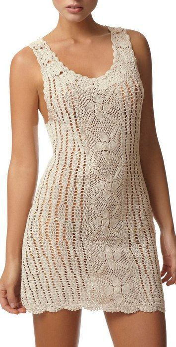 An elegant crochet woman dress.    NOTE! The dress is shipped without liner! Give my first your dimensions and I can do it exactly for you. If you prefer:
