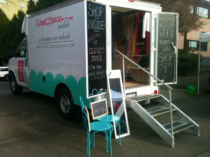 Strolling though the Fremont Sunday market today looking for some awesome vintage finds, and I saw this cool store. It's a mobile clothing shop inside a truck, with the inside designed after a vintage closet or garment trunk. What a good idea!