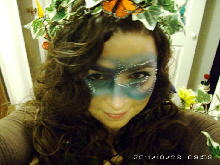 galaxy makeup for Mother Nature halloween costume.