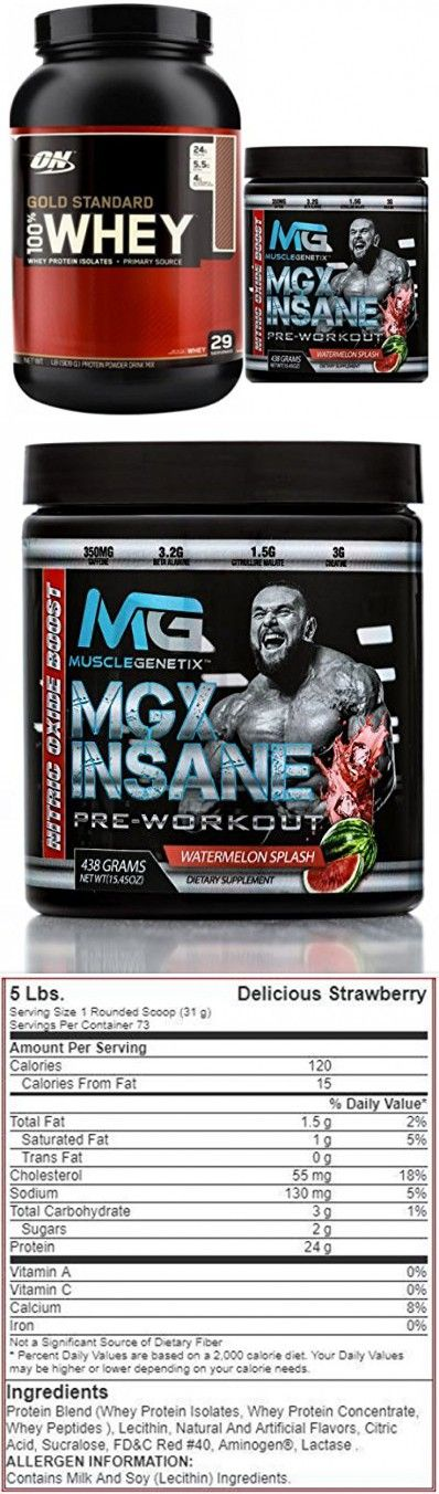 Gold Standard 100% Whey Protein, 5lb, Delicious Strawberry + MGX Insane Pre-Workout Energy & Endurances booster, 438 Grams Watermelon