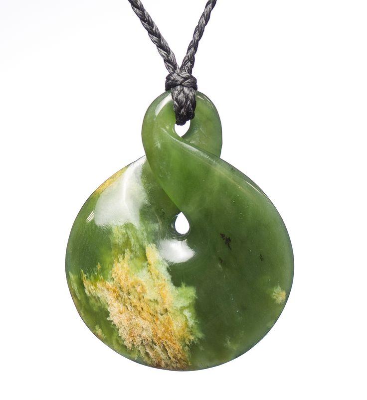 NZ 'Flower' Jade Single Twist Necklace : Mountain Jade New Zealand